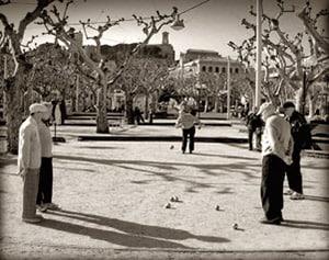 Boulespieler im Park
