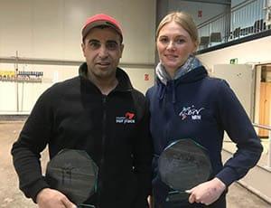 Toufik Faci und Ewelina Eckl bei der Siegerehrung Hallen-LM Doublette Mixte 2017