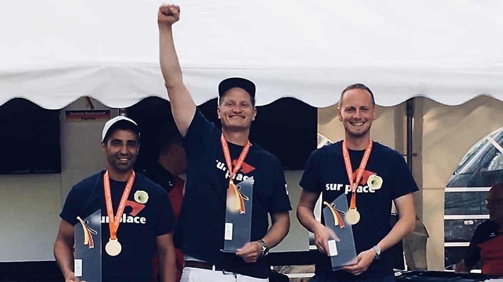 Toufik Faci, Philipp Niermann und Marco Schumacher bei der Siegerehrung der DM Triplette 2018 in Berlin